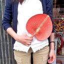パンダンとバンブーの団扇 うちわ 橙 Sサイズ 【アジアン雑貨 バリ 雑貨 タイ雑貨】【楽ギフ_包装】10P03Dec16