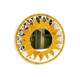 壁掛け バリ モザイク ミラー 鏡 Sサイズ D.20cm 丸型 黄色系 金ラメ 太陽 丸い鏡 アジアン バリ タイ 雑貨 アジアン インテリア おしゃれ 軽量