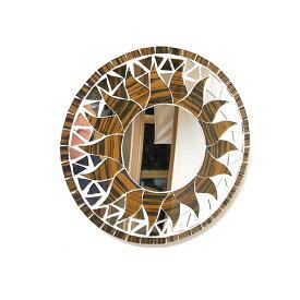壁掛け モザイク ミラー 丸い鏡 直径20cm 丸型 ゴールド 木目 金色 ゼブラ 鏡 アジアン バリ タイ 雑貨 エスニック インテリア お洒落