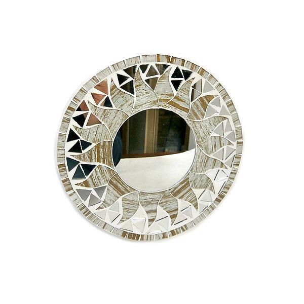 壁掛け モザイク ミラー 丸い鏡 直径20cm 丸型 ゴールド 金 ラメ オフホワイト 鏡 アジアン バリ タイ 雑貨 エスニック インテリア お洒落