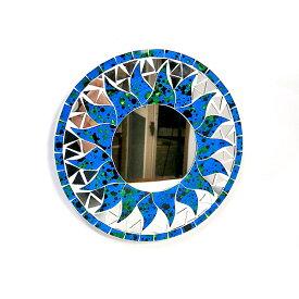 壁掛け モザイク ミラー 丸い鏡 直径20cm 丸型 海の色 ブルー ドット 鏡 アジアン バリ タイ 雑貨 エスニック インテリア お洒落