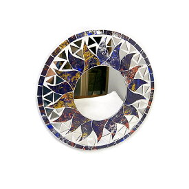 壁掛け モザイク ミラー 丸い鏡 直径20cm 丸型 パープル ミックス レインボー 紫 虹 鏡 アジアン バリ タイ 雑貨 エスニック インテリア お洒落