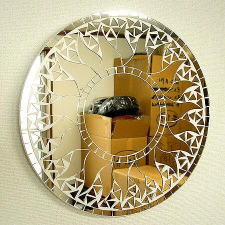 壁掛けバリモザイクミラー鏡S[D.30cm]丸型白+鏡太陽【丸い鏡】 アジアン 雑貨 バリ 雑貨 タイ 雑貨 アジアン インテリア