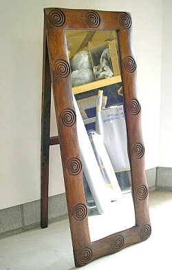 バンブー・ミラー渦巻き模様[65cmx41cm]