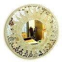 壁掛け 鏡 丸型 モザイクミラー モザイクガラス 鏡 直径40cm オフホワイト ラメ 太陽 アジアン 雑貨 バリ 雑貨 タイ 雑貨 アジアン インテリア