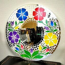 壁掛け バリ モザイクミラー M 丸型 白 4色花模様 B丸い花[D.40cm] アジアン 雑貨 バリ 雑貨 タイ 雑貨 アジアン インテリア