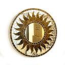 壁掛けバリモザイクミラー鏡S[D.30cm]丸型ゴールド木目調太陽【丸い鏡】 アジアン 雑貨 バリ 雑貨 タイ 雑貨 アジアン…