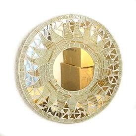 壁掛け 鏡 丸型 モザイクミラー モザイクガラス 鏡 直径30cm オフホワイト ラメ 太陽 アジアン 雑貨 バリ 雑貨 タイ 雑貨 アジアン インテリア