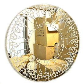 壁掛けバリモザイクミラーM丸型白太陽[D.40cm] アジアン 雑貨 バリ 雑貨 タイ 雑貨 アジアン インテリア