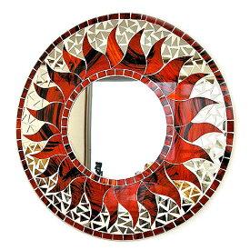 壁掛けバリモザイクミラーM丸型ロゼ・模様入り太陽[D.40cm] アジアン 雑貨 バリ 雑貨 タイ 雑貨 アジアン インテリア
