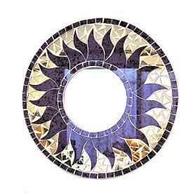 壁掛けバリモザイクミラー鏡S[D.30cm]丸型パープル・ドット太陽【丸い鏡】 アジアン 雑貨 バリ 雑貨 タイ 雑貨 アジアン インテリア