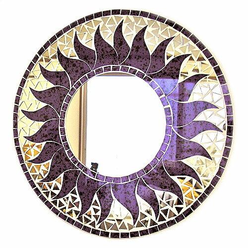 壁掛けバリモザイクミラーM丸型パープル・ドット太陽[D.40cm] アジアン 雑貨 バリ 雑貨 タイ 雑貨 アジアン インテリア
