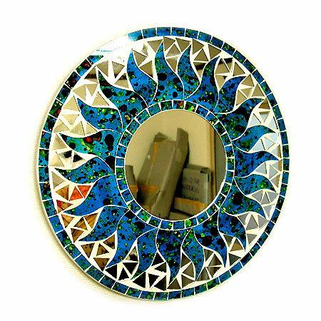 壁掛けバリモザイクミラー鏡S[D.30cm]丸型濃青(海の色)+ドット太陽【丸い鏡】 アジアン 雑貨 バリ 雑貨 タイ 雑貨 アジアン インテリア