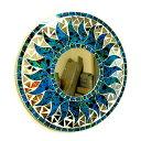 壁掛けバリモザイクミラー鏡S[D.30cm]丸型濃青(海の色)+ドット太陽【丸い鏡】【アジアン雑貨 バリ 雑貨 タイ雑貨】10P03Dec16