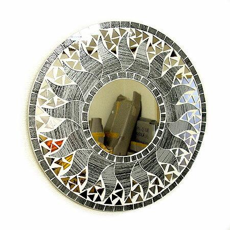 壁掛けバリモザイクミラー鏡S[D.30cm]丸型グレー系シルバーラメ太陽【丸い鏡】 アジアン 雑貨 バリ 雑貨 タイ 雑貨 アジアン インテリア