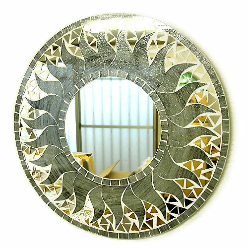 壁掛けバリモザイクミラー鏡M[D.40cm]丸型グレー系シルバー銀ラメ太陽【丸い鏡】 アジアン 雑貨 バリ 雑貨 タイ 雑貨 アジアン インテリア