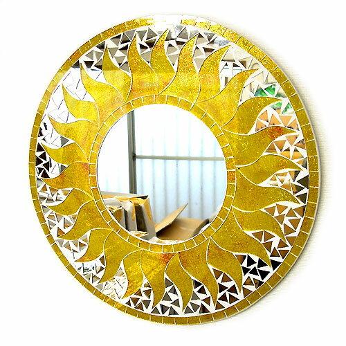 壁掛けバリモザイクミラー鏡M[D.40cm]丸型黄色系ゴールド金ラメ太陽【丸い鏡】 アジアン 雑貨 バリ 雑貨 タイ 雑貨 アジアン インテリア