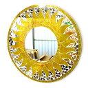 壁掛け バリ モザイク ミラー 鏡 Lサイズ D.40cm 丸型 黄色系 金ラメ 太陽 丸い鏡 アジアン バリ タイ 雑貨 アジアン …
