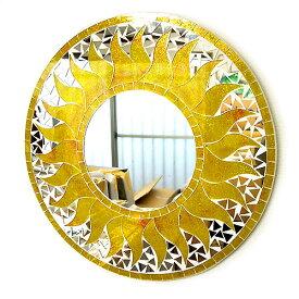壁掛け バリ モザイク ミラー 鏡 Lサイズ D.40cm 丸型 黄色系 金ラメ 太陽 丸い鏡 アジアン バリ タイ 雑貨 アジアン インテリア おしゃれ 軽量