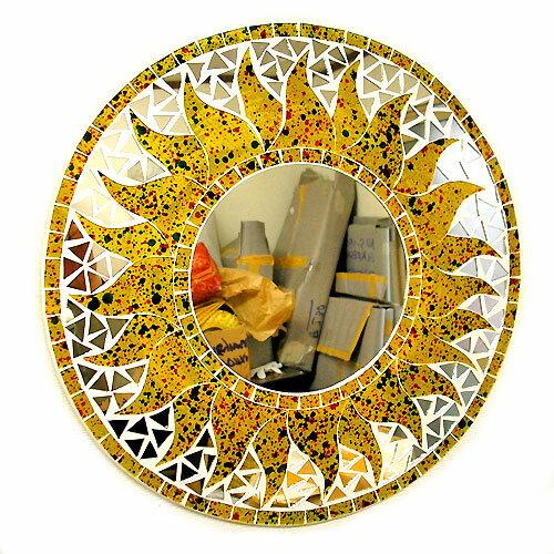 壁掛けバリモザイクミラーM丸型黄色・ドット太陽[D.40cm] アジアン 雑貨 バリ 雑貨 タイ 雑貨 アジアン インテリア