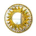壁掛けバリモザイクミラー鏡S[D.30cm]丸型黄色+ドット太陽【丸い鏡】【アジアン雑貨 バリ 雑貨 タイ雑貨】10P03Dec16