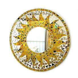 壁掛けバリモザイクミラー鏡S[D.30cm]丸型黄色+ドット太陽【丸い鏡】 アジアン 雑貨 バリ 雑貨 タイ 雑貨 アジアン インテリア