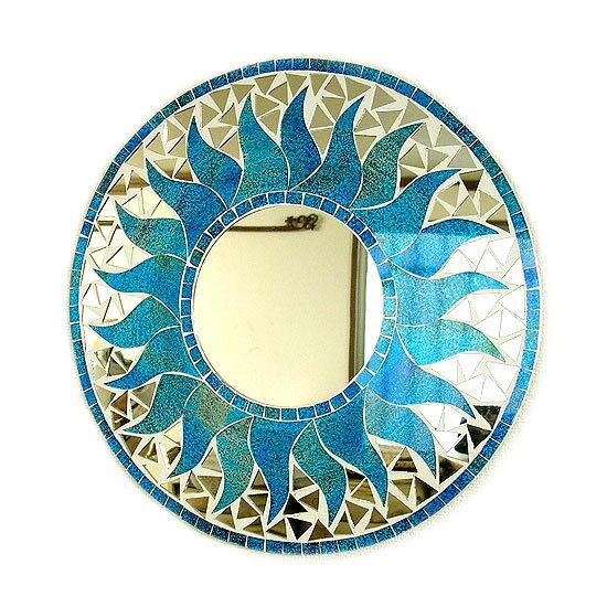 壁掛けバリモザイクミラー鏡S[D.30cm]丸型スカイブルー金ラメドット太陽【丸い鏡】 アジアン 雑貨 バリ 雑貨 タイ 雑貨 アジアン インテリア