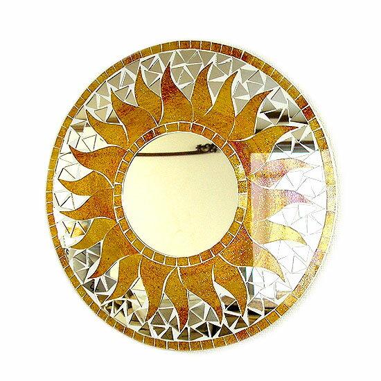 壁掛け バリ モザイク ミラー 鏡 Mサイズ D.30cm 丸型 黄色系 金ラメ 太陽 丸い鏡 アジアン バリ タイ 雑貨 アジアン インテリア おしゃれ 軽量