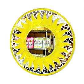 壁掛けバリモザイクミラーM丸型黄色A太陽[D.40cm] アジアン 雑貨 バリ 雑貨 タイ 雑貨 アジアン インテリア