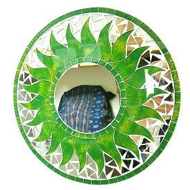 壁掛けバリモザイクミラー鏡S[D.30cm]丸型グリーン×イエロー太陽【丸い鏡】 アジアン 雑貨 バリ 雑貨 タイ 雑貨 アジアン インテリア