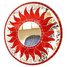壁掛けバリモザイクミラー鏡S[D.30cm]丸型レッドラメ太陽【丸い鏡】 アジアン 雑貨 バリ 雑貨 タイ 雑貨 アジアン インテリア