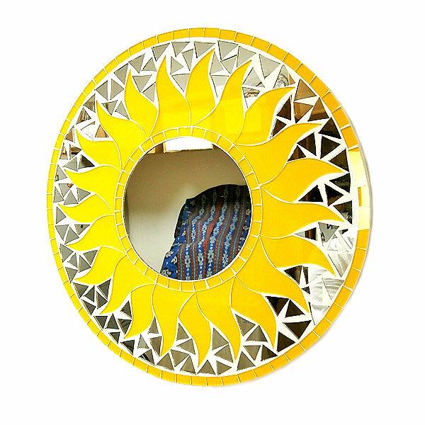 壁掛けバリモザイクミラー鏡S[D.30cm]丸型黄色太陽【丸い鏡】 アジアン 雑貨 バリ 雑貨 タイ 雑貨 アジアン インテリア