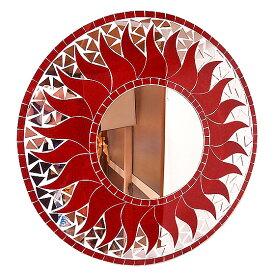 壁掛けバリモザイクミラーM丸型レッドラメ太陽[D.40cm] アジアン 雑貨 バリ 雑貨 タイ 雑貨 アジアン インテリア