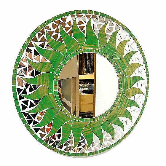壁掛けバリモザイクミラーM丸型グリーン・ゴールド太陽[D.40cm] アジアン 雑貨 バリ 雑貨 タイ 雑貨 アジアン インテリア