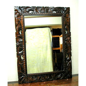 木彫りのミラー鏡 長方形 バリスタイル 姿見 [約H.80cmx横60cm] アジアン 雑貨 バリ 雑貨 タイ 雑貨 アジアン インテリア 送料無料