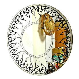 壁掛けバリモザイクミラー鏡M[D.40cm]丸型 ミラー×ブラック 太陽【丸い鏡】 アジアン 雑貨 バリ 雑貨 タイ 雑貨 アジアン インテリア