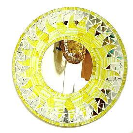 壁掛け バリモザイクミラー M 丸型 黄色・ラメ 太陽[D.40cm] アジアン 雑貨 バリ 雑貨 タイ 雑貨 アジアン インテリア