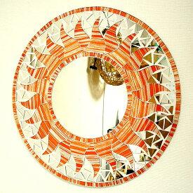 壁掛け バリモザイクミラー M 丸型 オレンジ・ラメ 太陽[D.40cm] アジアン 雑貨 バリ 雑貨 タイ 雑貨 アジアン インテリア