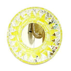 壁掛けバリモザイクミラー鏡S[D.30cm]丸型 黄色・ラメ 太陽【丸い鏡】 アジアン 雑貨 バリ 雑貨 タイ 雑貨 アジアン インテリア