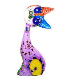 木製 バリ ネコ カラフル A パープル Lサイズ 単品 木彫り インテリア 猫 置物 オブジェ アジアン バリ タイ 雑貨 エスニック アンティーク