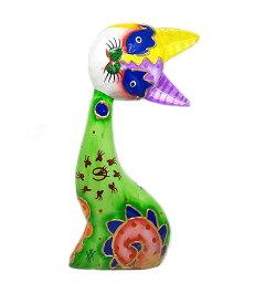 木製 バリ ネコ カラフル B グリーン Lサイズ 単品 木彫り インテリア 猫 置物 オブジェ アジアン バリ タイ 雑貨 エスニック アンティーク