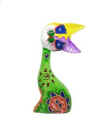 木製 バリ ネコ カラフル B グリーン Mサイズ 単品 木彫り インテリア 猫 置物 オブジェ アジアン バリ タイ 雑貨 エスニック アンティーク