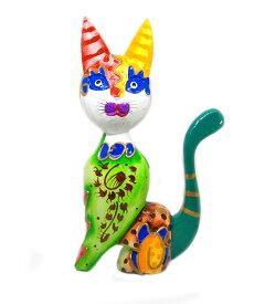 木製 バリ ネコ カラフル D グリーン Lサイズ 単品 木彫り インテリア 猫 置物 オブジェ アジアン バリ タイ 雑貨 エスニック アンティーク