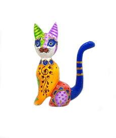 木製 バリ ネコ カラフル E オレンジ Sサイズ 単品 木彫り インテリア 猫 置物 オブジェ アジアン バリ タイ 雑貨 エスニック アンティーク