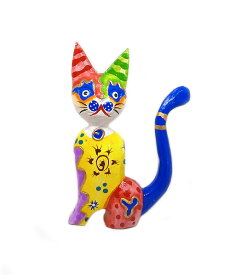 木製 バリ ネコ カラフル F イエロー Mサイズ 単品 木彫り インテリア 猫 置物 オブジェ アジアン バリ タイ 雑貨 エスニック アンティーク