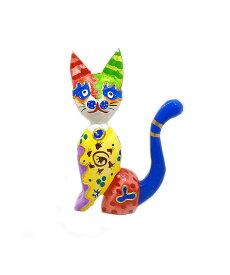 木製 バリ ネコ カラフル F イエロー Sサイズ 単品 木彫り インテリア 猫 置物 オブジェ アジアン バリ タイ 雑貨 エスニック アンティーク