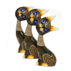 木製バリネコカラフルAパープルSサイズ木彫りインテリア猫置物オブジェアジアンバリタイ雑貨エスニックアンティーク送料無料