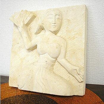 砂岩のレリーフ『踊る女』 [20x20cm] アジアン 雑貨 バリ 雑貨 タイ 雑貨 アジアン インテリア