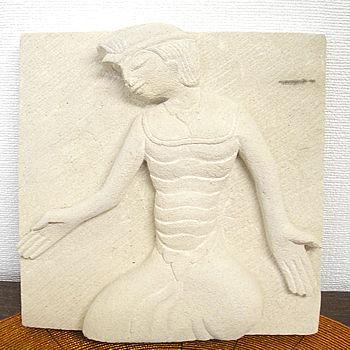 砂岩のレリーフ『踊る男』 [20x20cm] アジアン 雑貨 バリ 雑貨 タイ 雑貨 アジアン インテリア
