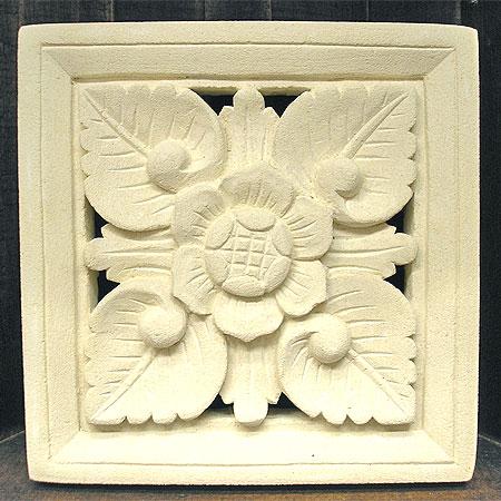 砂岩のレリーフお花 [20x20x3.5cm] アジアン 雑貨 バリ 雑貨 タイ 雑貨 アジアン インテリア